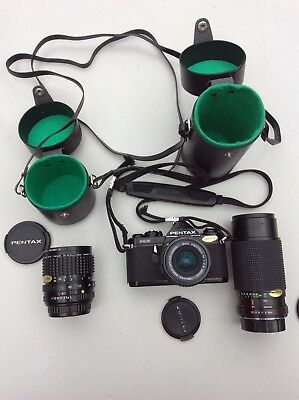 Black Pentax ME Camera And Lens SMC 1:2.8 28mm.plus 2xlens