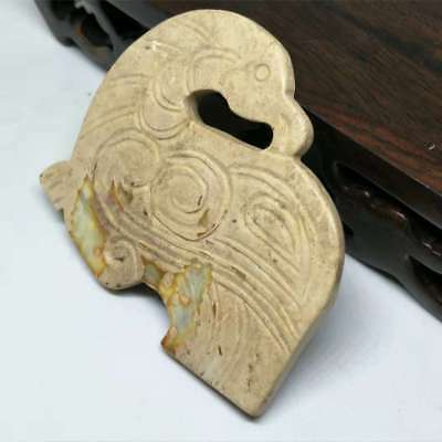 NEW LISTING ,Chinese natural old jade carved, Ancient bird  card pendant A3271