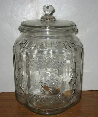 Antique Vintage Glass Planters Peanuts Country Store Display Jar 5 Cents Pennant