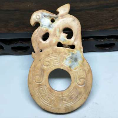 NEW LISTING ,Chinese natural old jade carved, Ancient bird card pendant A3274