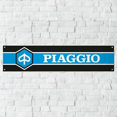 Piaggio Banner Garage Workshop Motorcycle PVC Sign Vespa Moped Scooter Display