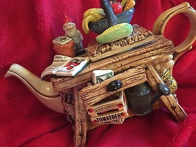 Signed Paul Cardew limited edition Gardeners bench design teapot
