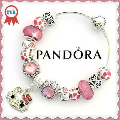 43683b615d2ad AUTHENTIC PANDORA CHARM Bracelet Silver HELLO KITTY Pink with European  Charms