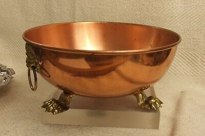 """Beautiful Reproduction Vintage Copper & Brass Lion Head & Claws 11"""" Punch Bowl"""