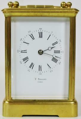 Rare Antique 19thc French 8 Day Gilt Brass & Glass Bell Striking Carriage Clock