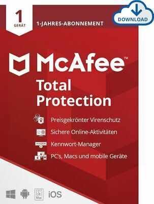 McAfee Total Protection Security 2019 1 PC 1 Jahr Mac Android