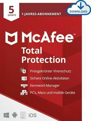McAfee Total Protection Security 2019 5 PC 1 Jahr Mac Android