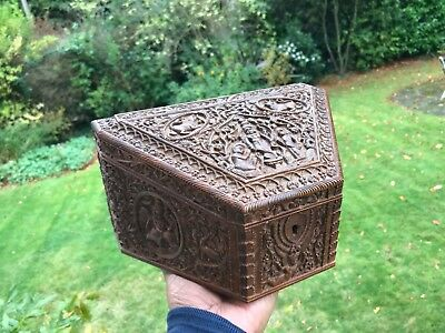 Antique Anglo Indian Carved Sandalwood Stationery Box 1890. Fabulous Carving !