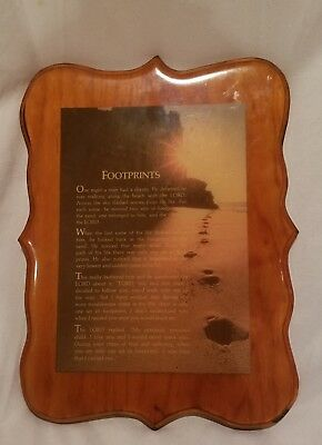 Antique Small Wooden Footprints Plaque, Wall Hanger, Picture, Vintage