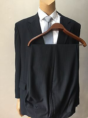 Striped Men's Gray Pleated Trousers 2 Piece Classic Wool Vintage Suit Size 48R
