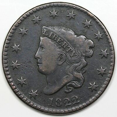 1822 Coronet Head Large Cent, F-VF detail
