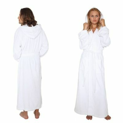 Arus Mens Womens Hooded Full Length White Luxury Turkish Bathrobe Robe WHITE 161fe5e2c
