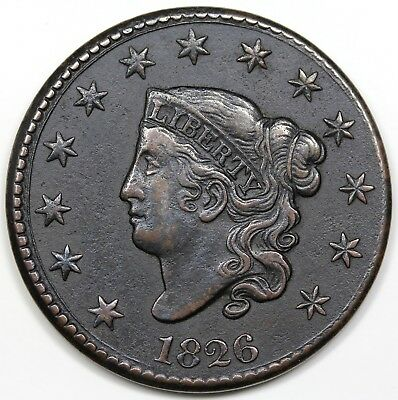 1826 Coronet Head Large Cent, XF+ detail