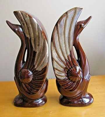 Vintage Art Deco BROWN DRIP GLAZE Pottery SWANS Birds FIGURINES Bookends LOT 2