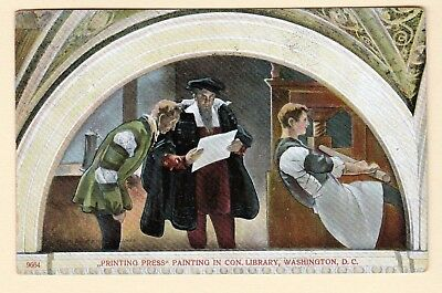 Printing Press Painting in Library of Congress Washington D. C. 1910 Postcard