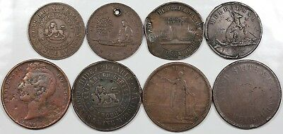 Lot of 8 mid-1800s Australia Halfpenny & Penny Tokens, lower grades