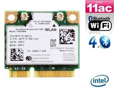 + Intel Dual Band AC 7260 867Mbit/s 7260HMW 08TF1D 802.11ac Bluetooth Mini PCIe+