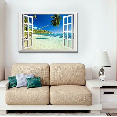 Tropical beach and sea 3D Window Scape Graphic Art Mural Wall Sticker- VPRNT1073