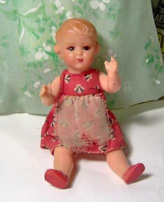 "Antique/Vintage Celluloid Doll, Jointed with Sleep Eyes 5-1/2""  Marked ITALY"
