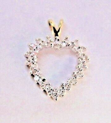 ^ 10K Yellow Gold Open Heart 1/3 Carat Round Diamond Prong Set Pendant        Yy