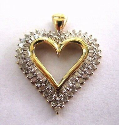 *  10K Yellow Gold Heart Pendant W/ 3/4 Carat Of Baguette & Round Diamonds
