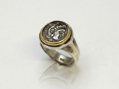 18K Gold top ring/Silver shank, Genuine Ancient Coin, Greek Alexander w/Cert 085