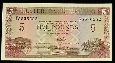1993 RARE Uncirculated Ulster Bank Belfast Ireland 5 Pound Note. ITEM Y13