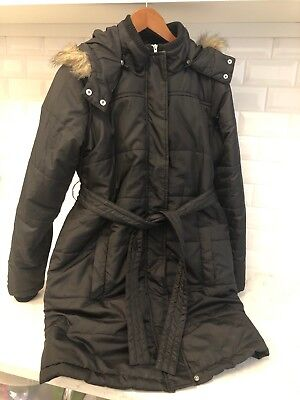 Oh Baby by Motherhood Maternity Winter Coat Jacket Black Hooded Puffer Medium