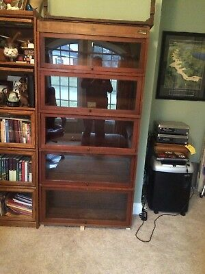 Antique Globe Wernicke 5 Section Barrister Bookcase Retractable Glass Doors