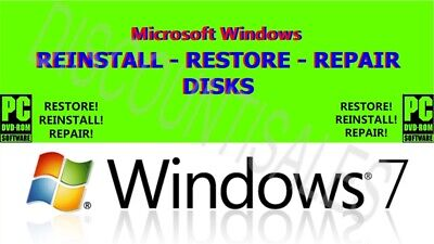 MICROSOFT WINDOWS 7 & XP FULL REINSTALL * DRIVERS DISK * BOTH 32 & 64bit (8 -10)