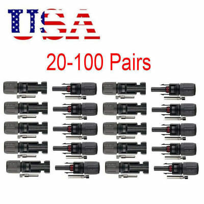 10-100 pairs MC4 30A Male Female M/F Wire PV Cable Connector Set Solar Panel USA