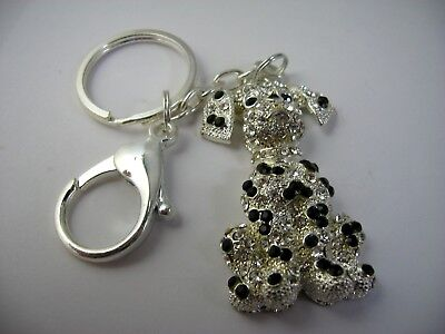 Collectible Keychain: Dog Black & Clear Jewels Silver Tone Great Design