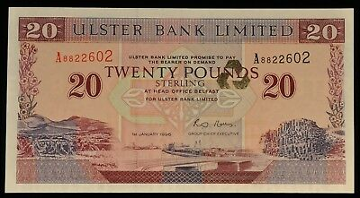 1996 RARE Uncirculated Ulster Bank Belfast Ireland 20 Pound Note. ITEM Y15