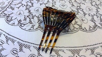 Antique Art Deco HUGE Hair Comb Tortoise Shell Plastic Blue & Green Rhinestone