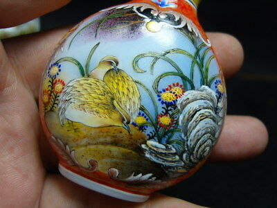 Exquisite Chinese enamel glass Snuff bottle- See Video             3