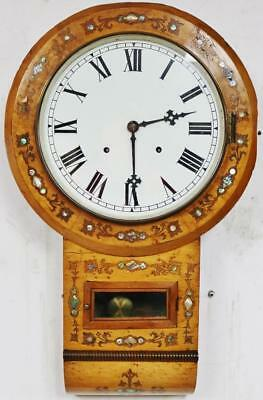 Beautiful Classic Antique 8 Day Inlaid Walnut Bell Striking Drop Dial Wall Clock