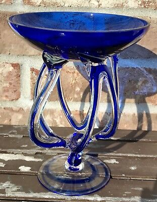 "6.75"" Cobalt Blue Art Glass Pedestal Bowl Hand Blown EXCELLENT"