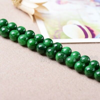 "8mm Natural Smooth Green Jadeite Jade Round Gemstone Loose Beads 15"" AAA+"