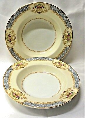 Noritake Chevonia Rim Soup Bowls Blue Tan Border Floral Sprays