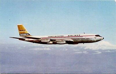 (#089) Continental Airlines Boeing 707 Jet Airplane in Flight 1960s Postcard