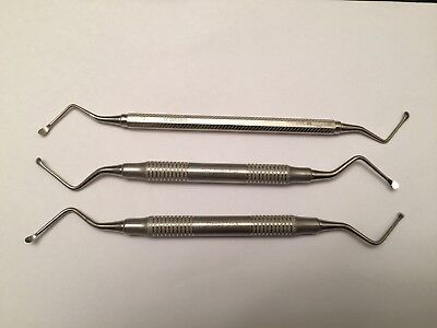 3× Dental Surgical Lucas Curettes  #86, Spoon 2.6mm Double Ended SS