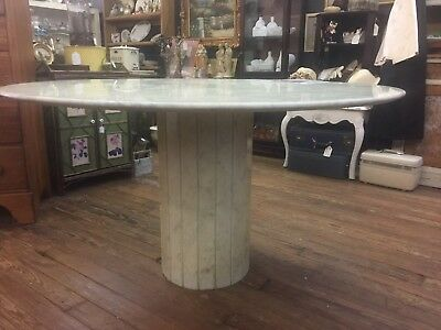 Italian White Marble Round Dining Table And Base Mid Century