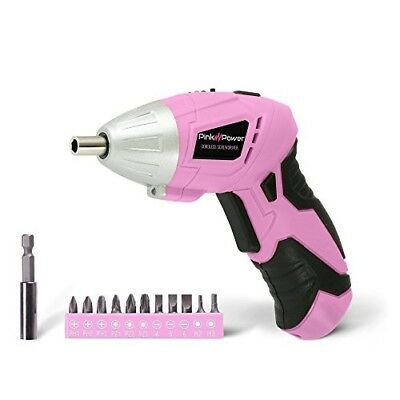NEW!! Cordless Electric Screwdriver and Bit Set for Women Pink - PP481 3.6 Volt