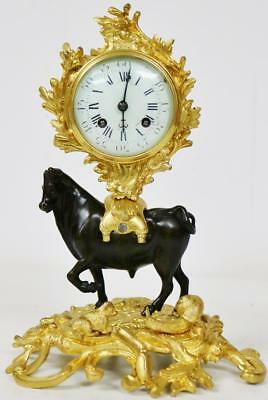 Rare Antique 19thC 8 Day Striking Solid Bronze Bull Figural Desk Mantel Clock