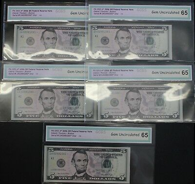 Lot of 5 2006 Uncirclated $5 Dollar  A1 Boston Federal Reserve Star Notes