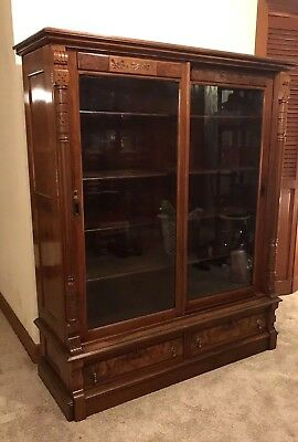 Antique Glass Bookcase Cabinet Wood Display Door Cherry 5 Shelves Drawers Carved