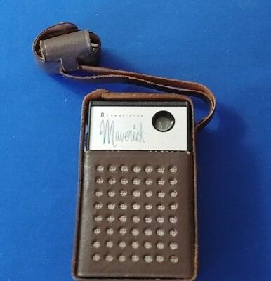 VINTAGE MAVERICK by CHANNEL MASTER 8 TRANSISTOR RADIO- ORIGINAL CASE & EAR PHONE