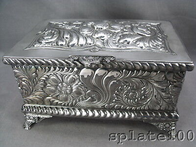 Meridenb.co Victorian Repousse' Silverplate Floral's Humidor