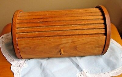 Vintage Solid Oak Roll Top Valet Watch Jewelry Box Dresser Top Dove Tailed