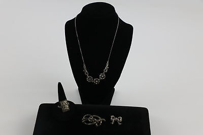 4 x Vintage .925 STERLING SILVER MARCASITE JEWELLERY inc. Ring, Brooch (23g)